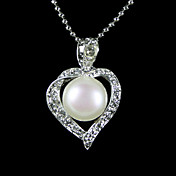 Silver Plated White AA Freshwater Pearl Pendant Necklace