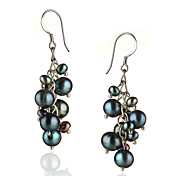 Fresh Water Black Pearls And Sterling Silver Earings