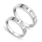Amazing 925 Sterling Silver And Zircon Lovers Rings Set Of 2