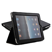 Protective Hard PU Leather Case + Stand for Apple iPad (Black)
