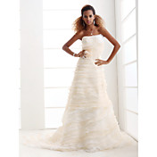 A-line Strapless Court Train Organza Tiered Wedding Dress with 3D Flowers