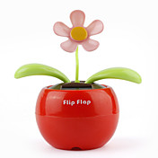 Solar Powered Flip Flap Flower Plant-Red