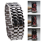 Sort Metal Strip Digital Lava Jern Sport Herrer Rød LED Armbåndsur