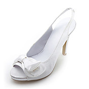 Elegant Satin Upper High Heel Strappy Sandals With Bowknot Wedding Bridal Shoes