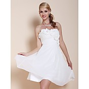 A-line Strapless Knee-length Chiffon Cocktail Dress With Flowers