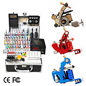 3 armas kit tattoo com lcd de energia e 40 de tinta colorida + freeshipping