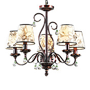 Elegant Chandelier with 5 Lights in Floral Patterned Shade