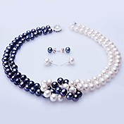 blanc et bleu collier de perles d'eau douce et boucles d'oreilles