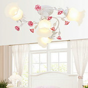 Floral Ceiling Light with 4 Lights in Rose Decorration