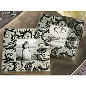 Photo Coaster Favor With Black Damask Design (Set of 2)
