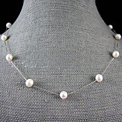 7-8MM Natural Freshwater Pearl Necklace With Silver Chain  18 Inch (More Colors)