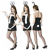 Elegant Black Polyester Bunny Girl Costume (3 Pieces)