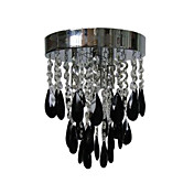 Black Crystal Flush Mount with 3 Lights
