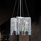 Crystal Pendant Light with 4 Lights in Cubic Shape