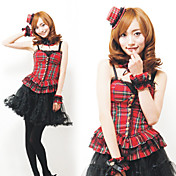 Princess Series Check Pattern Black Lace Polyester Costume (5 Pieces)