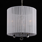 Crystal Pendant Light with 3 Lights in White Shade