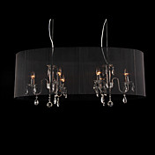 Crystal Pendant Light with 6 Lights in Black Shade