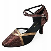 Customized Two Tone Sparkling Glitter With Leatherette Dance Shoes (More Colors)