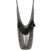 Black Gem Chain Necklace With Fringe