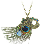 Peacock Pendant Necklace With Feather And Gem