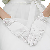 Satin Wrist Length Bridal Gloves With Ruching And Pearls