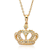 Diamond Inlaid Crown Pendant Necklace