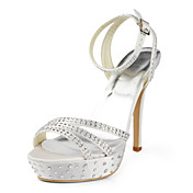 Elegant Satin Stiletto Heel Platform With Rhinestone Wedding Shoes (More Colors Available)
