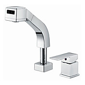 Contemporary Solid Brass Widespread Pull Out Kitchen Faucet (Chrome Finish)