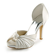 Satin Stiletto Heel Peep Toe / Platform With Ruffles Wedding / Party Evening Shoes (More Colors Available)