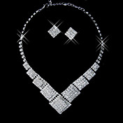 Beautiful Rhinestone Rhombus Ladies' Jewelry Set (45 cm)