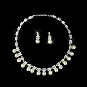 Double Strand Pearl & Rhinestone Fringe Necklace and Earrings Jewelry Set