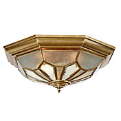Golden Flush Mount with 2 Lights in Antique Style