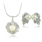 Beautiful Leaves Design Rhinestone Two Pieces Women's Pearl Jewelry Set (50 cm)