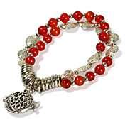 Cutout Fish Two Layers Ladies' Red Agate Strand Bracelet In Silver Alloy