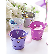 Metal Favor Pail With Heart Cutouts  Set of 12 (More Colors)