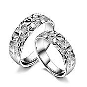 Rhinestone Platinum Plated Round Shape His &amp; Hers Rings (Set of 2)