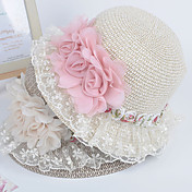 Flower Decorated Lacing Edged Straw Hat