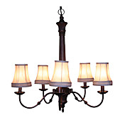 5 - Light Vintage Chandeliers Fabric Shades