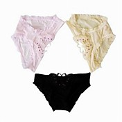 3 Pieces One Size Poly-Cotton Briefs Low Waist Daily Wear Panties More Colors Available