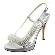 Satin Stiletto Heel Slingbacks Sandals Wedding Shoes With Flower