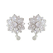 Unique White Platinum Plated With Flower Shape Cubic Zirconia Earrings