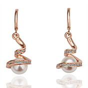Fashion Imitation Pearl Alloy Hoop Earrings