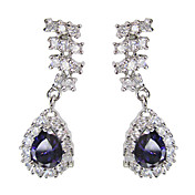 Beautiful Blue Platinum Plated With Oval Shape Cubic Zirconia Earrings