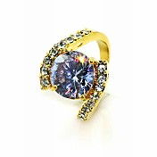 Luxurious Cubic Zirconia Platinum Plated Round Shape Fashion Ring (More Colors)