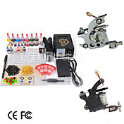 2 Guns Tattoo Kit with Smart Pointer Power and 14 Color Ink