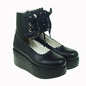 Black PU Leather 7cm Platform Gothic Lolita Shoes