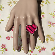 Pink and Black Pattern Heart-shape Punk Lolita Ring