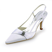 Satin Stiletto Heel Pointy Toe Slingbacks With Ruffles / Rhinestone Wedding Shoes (More Colors)