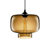 70W Modern Glass Pendant Light in Brown Transparent Bottle Design