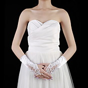 Satin Wrist Length Fingerless Bridal Gloves With Beading (More Colors)
